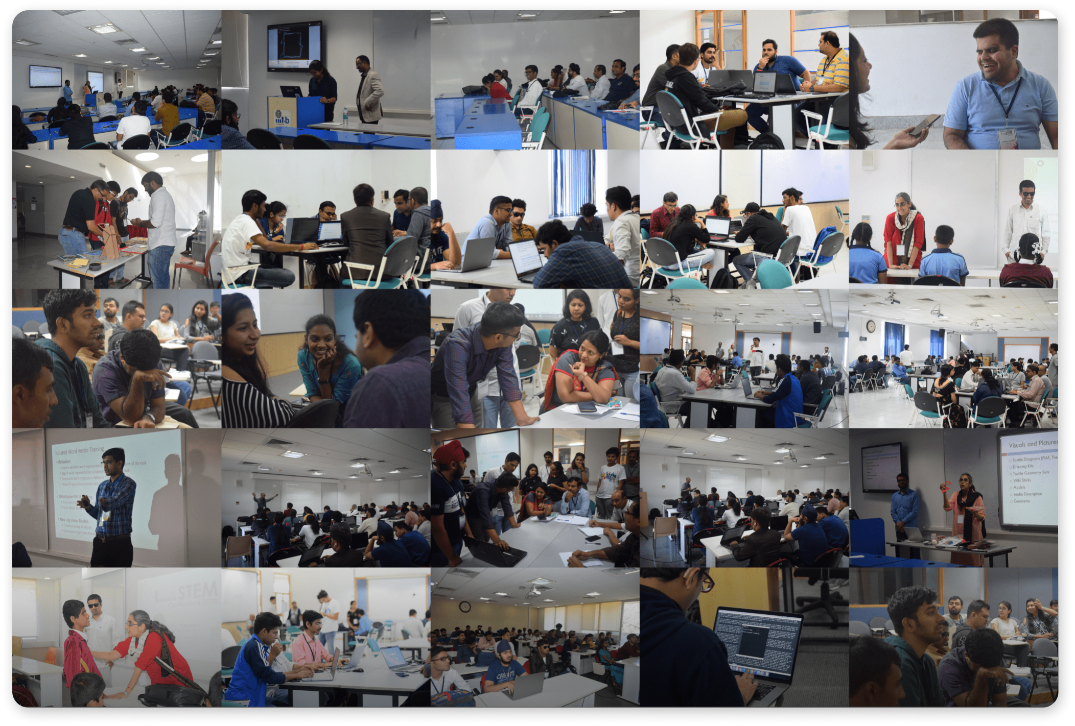 Multiple pictures from I-stem hackathon about I-stem team, volunteers, hackathon participants